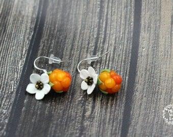 Salmonberry jewelry, Cloudberry jewelry, Alaska jewelry, Fower earrings, Berry earrings, Alaska earrings ,Boho earrings, Aqpik