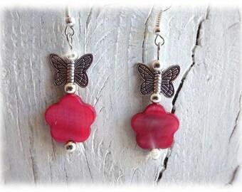 filigrane Schmetterlinge - Ohrhänger Ohrringe silberfarben boho rosa Blüte Perlmutt