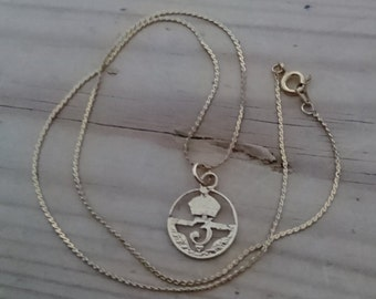 Vintage gilded silver 3pence piece cut out pendant and chain