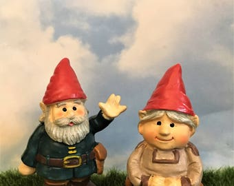 Man and Woman Gnomes Miniature Fairy Garden Gnome Figurines Cake Toppers