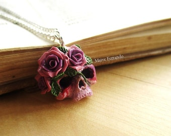 Skull and Roses Necklace, Polymer Clay Handmade Fantasy Pendant, Jewelry, Accessories