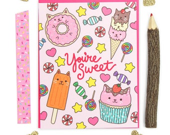 You're Sweet Note Card, Cat Birthday Card, Sweet Cat, Cat Pattern, Thinking Of You Card, Girlfriend Card, Kawaii Cat, Boyfriend Card, Donuts
