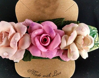 Pink roses- hair clip