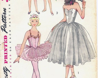1950s Simplicity 4070 Girls' Ballet Costume in Two Lengths with Hat and Ruff Sewing Pattern CUT