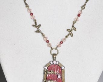 Necklace Fairy Door Brass Crystal Filigree Link #93