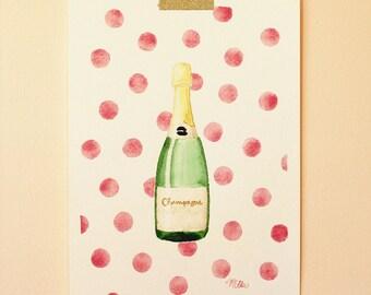 Original Champagne and Pink Polka Dots Watercolor Painting