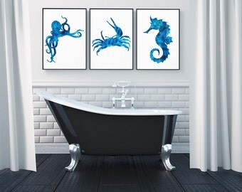 Nautical Decor, Watercolor Art, Ocean Art, Wall Art, Sea Life Art, Seahorse Art, crab art, Octopus print, Set of Three, bathroom wall decor