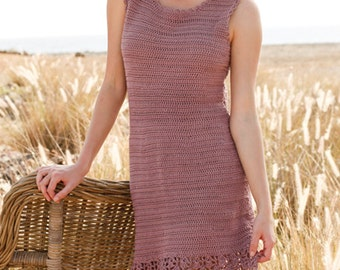 Woman dress crochet, cotton vest, tunic sleeveless, Woman outfit. Handmade, SELECT COLOR and SIZE.