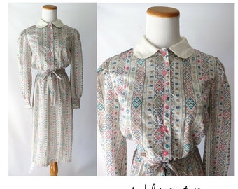 Dolly Dress Peter Pan Collar 70s 1970s Indie Hipster Midi Long Sleeves Size Small Cute