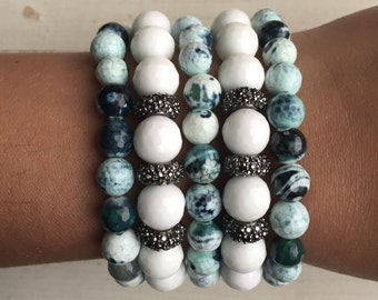 Faceted White Agate Beaded Bracelets and Multi Green Agate Bracelets with Gunmetal Pave Crystal Roundels