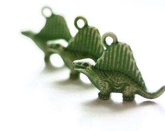 Dinosaur Pendants. Dinosaur Charms. Animal Charms. Dimetrodon. One loop. 3 Pieces.