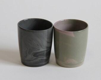 marbled espresso cup set / marbled sake set / unique sake cups / marbled ceramics