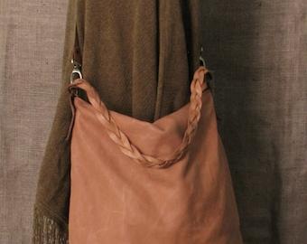 Handmade leather hobo bag