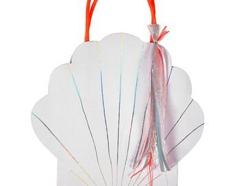 Shell Favor Bags (Set of 8) - Meri Meri Paper Goodie Bags   Beach   Mermaid   Under the Sea   Seashell