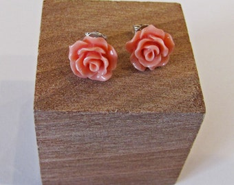 Salmon Coral - Rose Flower Stud Earrings - Hypoallergenic