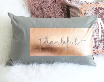 NEW! Holiday Pillow Cover - Thankful Rose Gold
