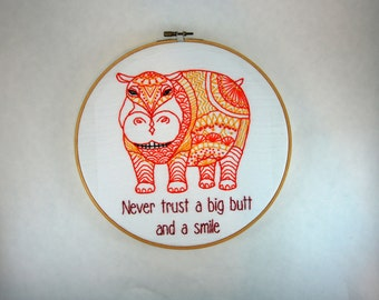 Sassy Hoop Art - Hippo - Bel Biv Devoe  - Never Trust a Big Butt and a Smile - 10 Inch hoop - Inappropriate Animals series