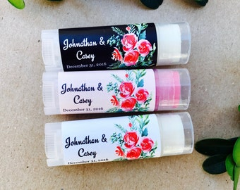 Oval Lip Balm Favors 24ct - Bridal Shower Lip Balm Favors - Oval Lip Balm Tubes - Personalized Party Favors - Oval Chapstick (OL2001)