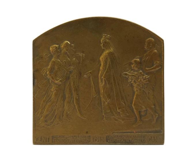 Antique Belgium Bronze Plaquette by Godefroid Devreese. International Exhibition at Gent 1913.