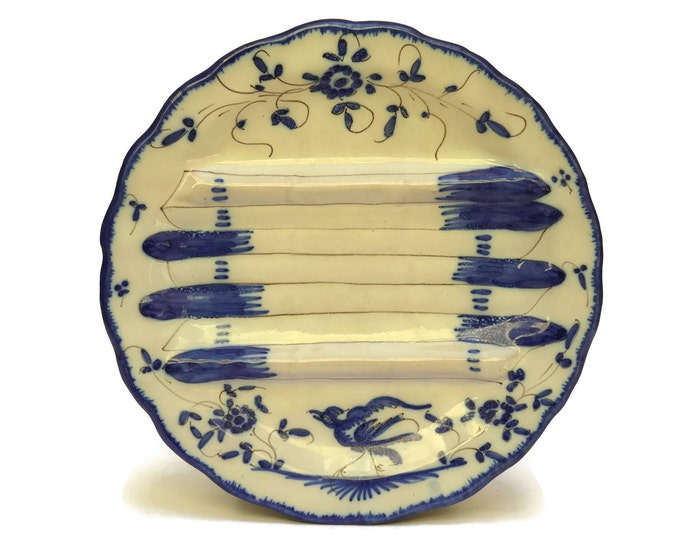 French Faience Blue and White Asparagus Plate by Martres Tolosane. French Country Kitchen Wall Art Plate.
