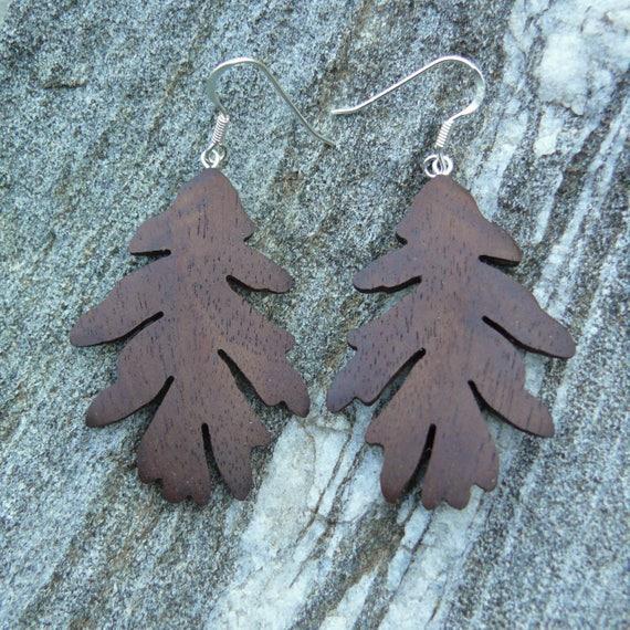 Oak leaf earrings silver, Wooden Jewelry, Dangle drop leaf earrings, Leaf earrings sterling silver, Wooden leaf jewelry, Nature lover gift