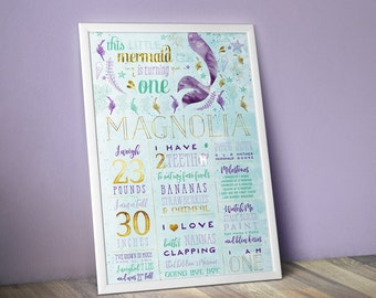 Mermaid Birthday Party Stats Poster - Custom One Year Old Facts Sign - Birthday Decor for Girl - Under the Sea Watercolor Milestone Poster