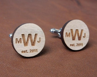 Custom Cuff links, personalized wedding grooms gift, best mans gift, groomsmen gifts, wood anniversary, father of bride, rustic wedding