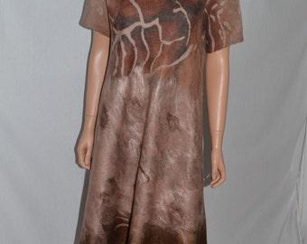 Eco fashion tunica  Nuno felted   light  from natural silk and woolNuno felt dress  - Mini wool dress - Boho Pixie dress -
