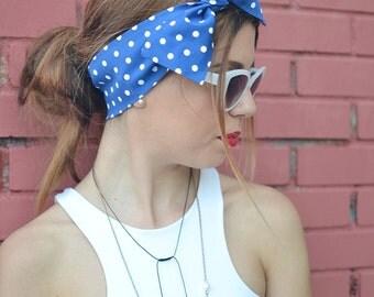 Polka Dot Turban, Workout Head Scarf, Blue Headband, Headband Adult, Woman Top Knot, Cotton Head Wrap, Pin Up Headband, Bow Headband, Turban