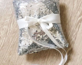 Wedding ring pillow - Wedding ring bearer - Ring pillow bearer - Sequins silver ring pillow -  ring pillow
