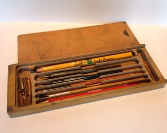 C1910 Wooden Slide Top Dipping Pen Case. Retro Pencil Box. Pencil Case. Artists Box.