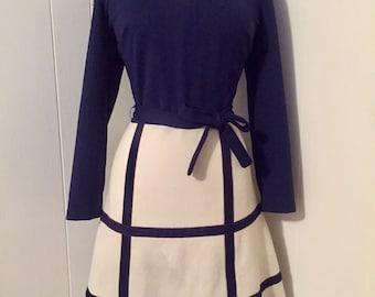 1960s Navy Blue & White Plaid Dress