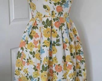 50s Vintage Dress / Floral Dress / Bonwit Teller Dress/ 50s Dress / Sun Dress / Summer Dress / Orange Lemon Taffeta/ Size Small