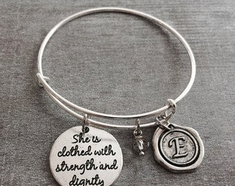 Christian, Proverbs 31:25 Scripture, Faith, Silver Bracelet, For she shall be clothed in strength and dignity, personalize, custom, healing