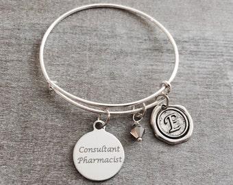 Sale, RX Bangle, RX Bracelet, Pharmacy, Pharmacist, RX bowl, Consultant pharmacist, Charm bangle, Monogram, Initial, Graduation, Keepsake