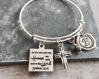 As For Me and My House, We Will Serve the Lord, Joshua 24:15, Christian, Cross, bible verse, Silver Bracelet, Charm Bracelet, Scripture