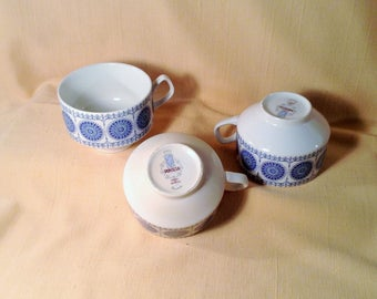 Set of 3 Mid Century Coffee or Tea Cups - Pontesa Ironstone, Granada pattern, Made in  - Chipped, Possible Planters or DIY Gardening Decor
