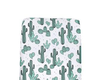 Cactus Crib Sheet, Jade Cactus Fitted Crib Sheet, Cotton Crib Sheet, Modern Baby Bedding, Desert Baby Bedding, Minky Crib Sheet