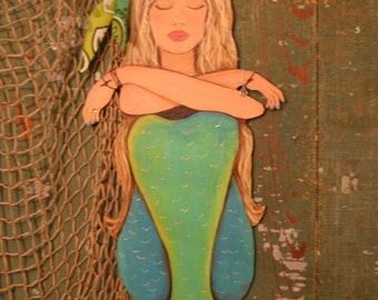 Wooden Mermaid Wall Hanging mermaid wall art playing guitar art hand painted wood coastal