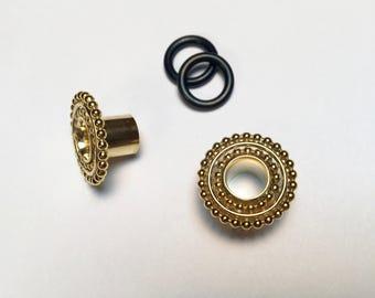 Yellow Gold Double Beaded Gauged Earrings/Plugs