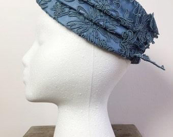 Vintage Evening Hat / Baby Blue Hat / Vintage Retro Hat / Lace Hat / 40s Hat / 50s Hat