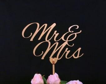 Mr & Mrs cake topper, Wedding cake topper, gold cake topper, wooden cake topper, custom cake topper, Item009