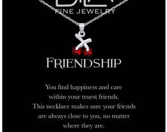 DTLA Friendship Necklace in Sterling Silver with Inspirational Quote Card - Garnet CZ