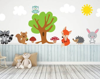 Woodland Animal Nursery Woodland Wall Decals Woodland Animal Wall Decals Forest Animal Wall  sc 1 st  Etsy & Woodland Wall Decals Reusable Wall Decal Nursery Wall