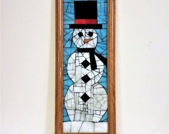 snowman with black hat stained glass mosaic picture 6x18 inches framed mosaic wall hanging stained glass panelwinter mosaicwhite snowman