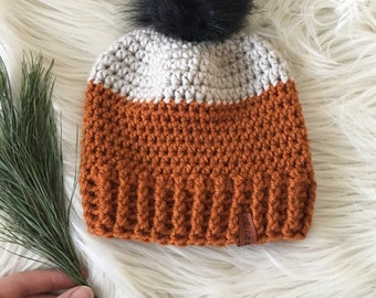 Ready to ship// baby winter hat Faux fur pom pom orange color blocked winter hat, kids hat, knit hat, knittted hat, beanie with a pom pom,
