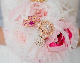 Custom Rose Gold Fabric Bouquet, Fabric Flower Silk Flower Bouquet, Wedding Bouquet, Bridesmaids Bouquet, Gatsby Wedding, Vintage - 7 inch