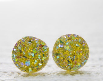 Yellow Druzy Earrings, Faux Druzy Earrings, Druzy Jewellery,  Glitter Earrings, Glitter Studs, Sparkle Earrings