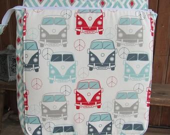 Cross Body Bag w/ Hidden Organizer Pockets in Fun VW Bus Fabric - Adjustable Strap, Zip Pockets, Credit Card Pockets, Peace Signs, 60's