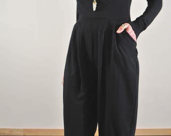 Long Sleeve Onesie, Wrap Top, Black Jumpsuit, Black Onesie, Drop Crotch Pantsuit, Sleeveless Jumpsuit, Bamboo Jumpsuit, Long Sleeve Onesie